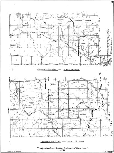 L. C. Bishop Emigrant Trail Map Series --  Lander's Cut Off, East and West Section